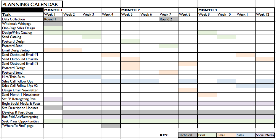 sample planning calendar template for startup b2b marketing strategy