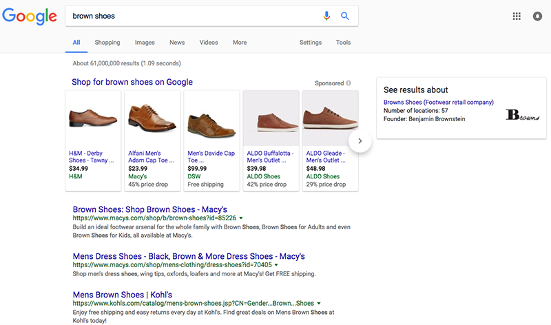 search engine results page for brown shoes